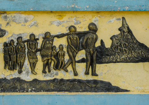 Benin, West Africa, Ouidah, the memorial zomachi on the slave trail showing the departure of the slaves from africa