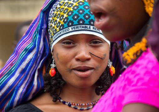Benin, West Africa, Savalou, a beautiful tattooed fulani peul tribe young woman