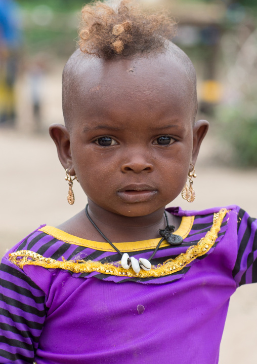Benin, West Africa, Savalou, fulani peul tribe little girl with a funny haircut