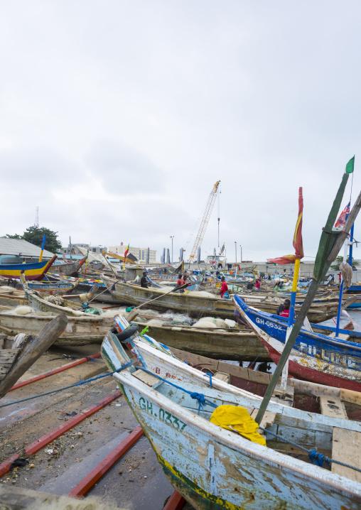 Benin, West Africa, Cotonou, fishermen ships in the port