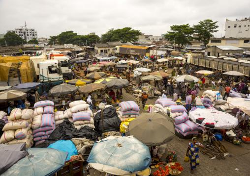 Benin, West Africa, Cotonou, dantokpa market aerial view