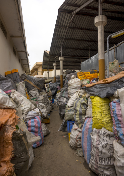 Benin, West Africa, Cotonou, bottles gathered for recycling in dantokpa market
