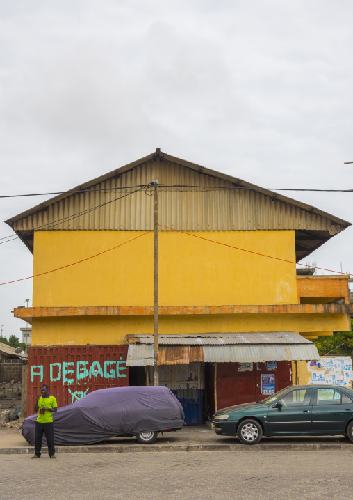 Benin, West Africa, Cotonou, house tagged to be destroyed by the governement program against illegal occupation