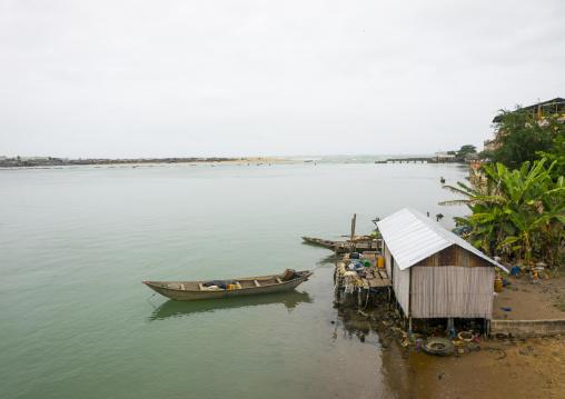 Benin, West Africa, Cotonou, house on nokoue lake banks