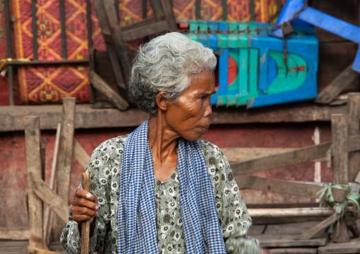 Portrait of a senior cambodian woman, Battambang province, Battambang, Cambodia