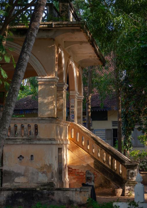 Entrance of an old french colonial house, Battambang province, Battambang, Cambodia