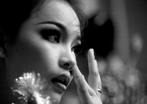 Make-up of the cambodian dancer of the national ballet, Phnom Penh province, Phnom Penh, Cambodia