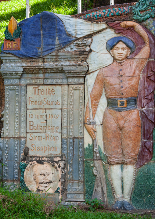French colonial stelae depicting a cambodian soldier, Phnom Penh province, Phnom Penh, Cambodia