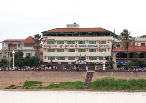 Old colonial buildings along the river, Phnom Penh province, Phnom Penh, Cambodia