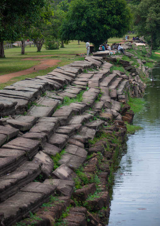 Stairs around the pond in Angkor wat, Siem Reap Province, Angkor, Cambodia