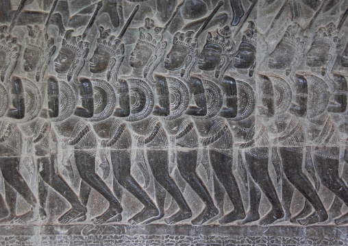 Warlike bas-relief on the walls, Siem Reap Province, Angkor, Cambodia