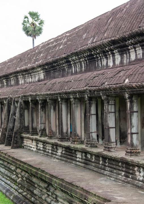Columns along Angkor wat, Siem Reap Province, Angkor, Cambodia