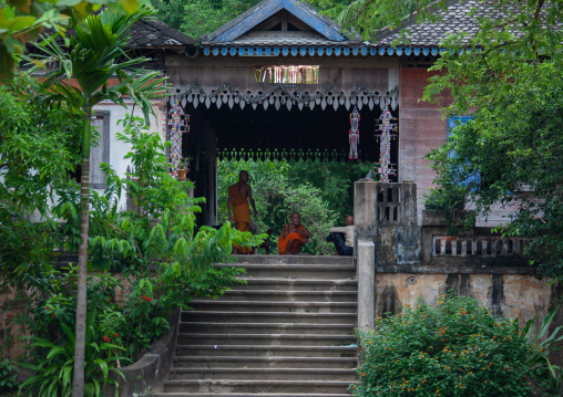 Decorated house in the monastery of Angkor wat, Siem Reap Province, Angkor, Cambodia