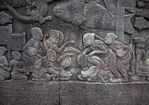 Bas-relief on the walls of Angkor wat, Siem Reap Province, Angkor, Cambodia