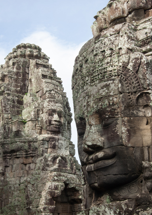 Giant buddha faces inside Bayon temple, Siem Reap Province, Angkor, Cambodia