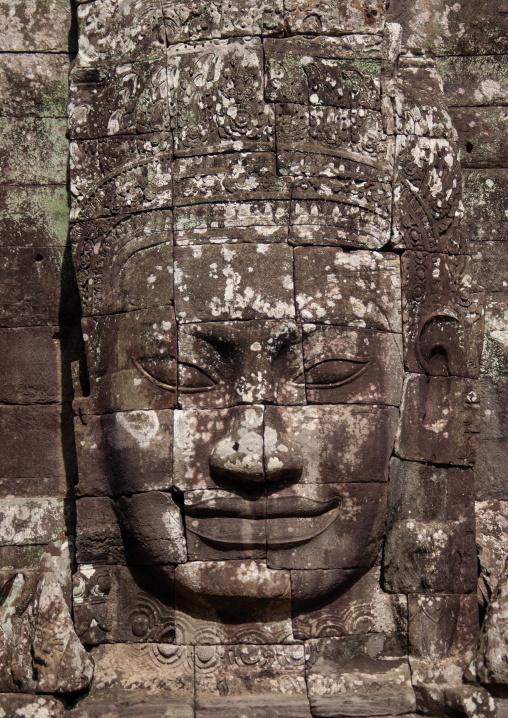 Giant buddha face inside Bayon temple, Siem Reap Province, Angkor, Cambodia