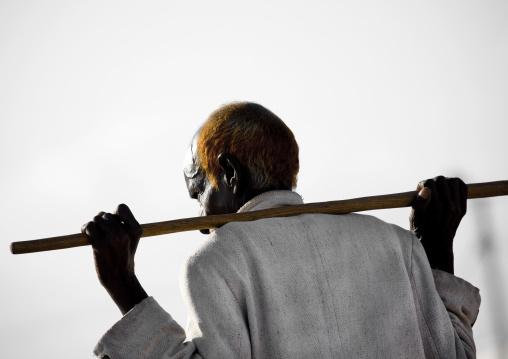 Afar Man Walking With Stick On The Shoulders, Tadjourah, Djibouti