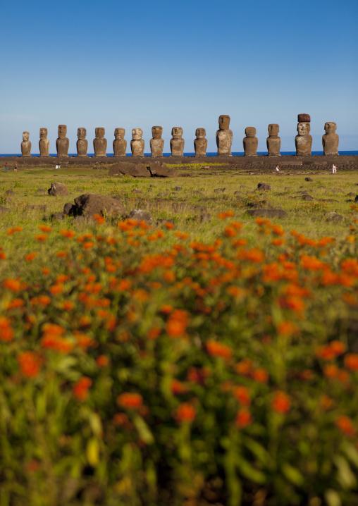 Monolithic Moai Statues At Ahu Tongariki, Easter Island, Chile
