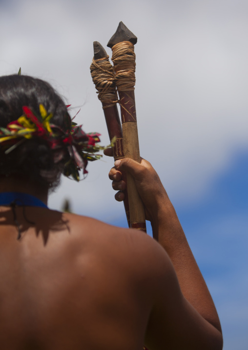 Spear Competition During Tapati Festival, Easter Island, Chile