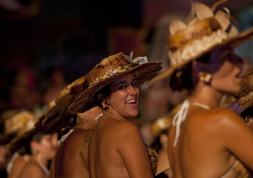 Traditional Dances During Tapati Festival In Hanga Roa, Easter Island, Chile