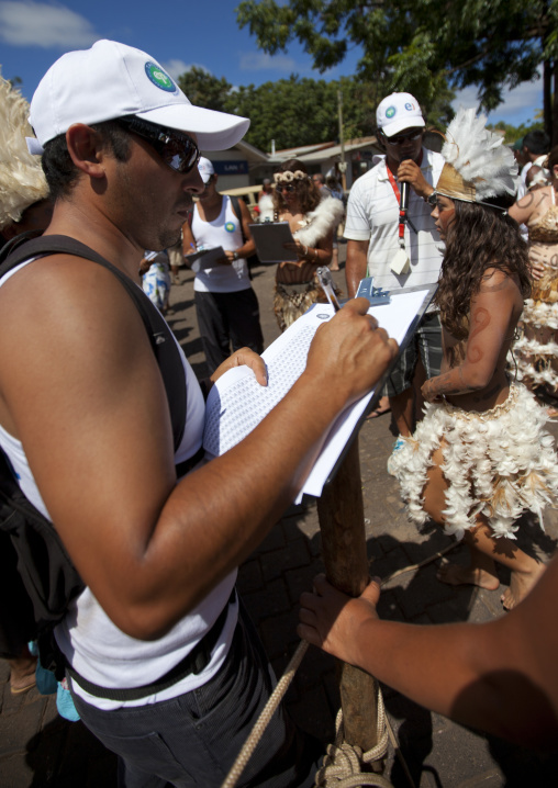 Counting The Contesters During Tapati Festival, Easter Island, Chile