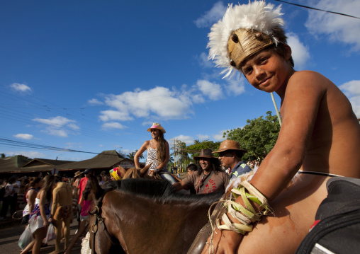 Kid On A Horse During Tapati Festival, Easter Island, Chile