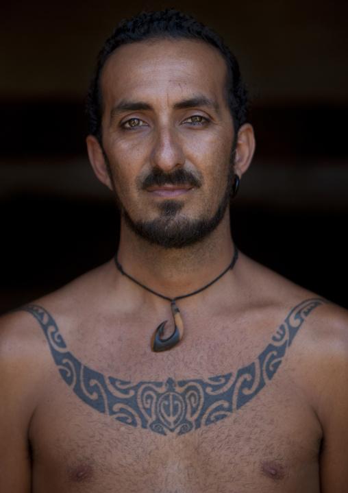 Mokomae With A Shark Jaw tattoo , Easter Island, Chile