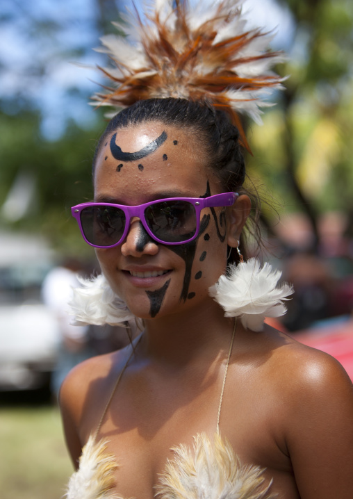 Beautiful Woman During Carnival Parade, Tapati Festival, Easter Island, Chile