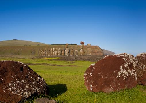 Pukao At Ahu Tongariki, Easter Island, Chile