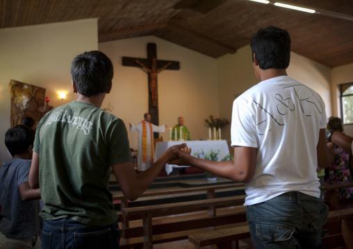 Hanga Roa Catholic Church In Hanga Roa, Easter Island, Chile