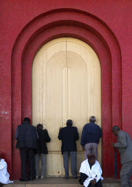 People Praying At Enda Mariam Church, Asmara, Eritrea