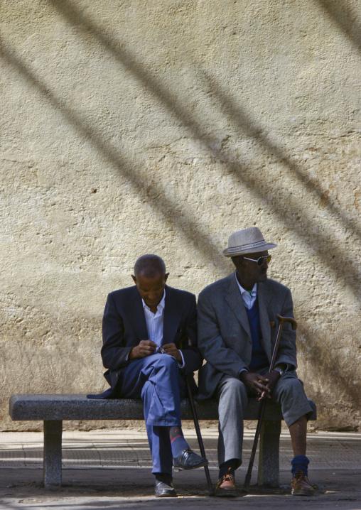 Two Old Men Sitting On A Bench, Asmara, Eritrea