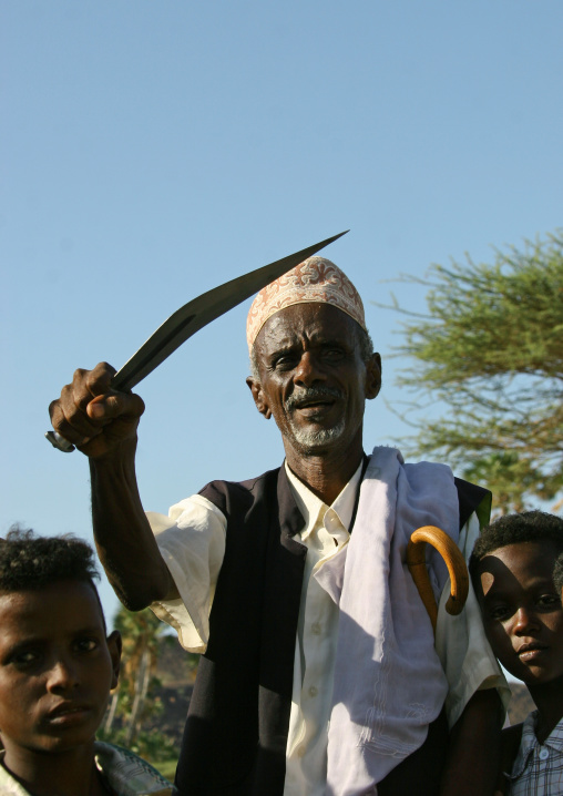 Afar Man With Big Knife During A Wedding, Danakil Coast, Eritrea