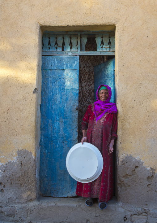 Old Woman Standing At The Entrance Of Her House, Anseba, Keren, Eritrea