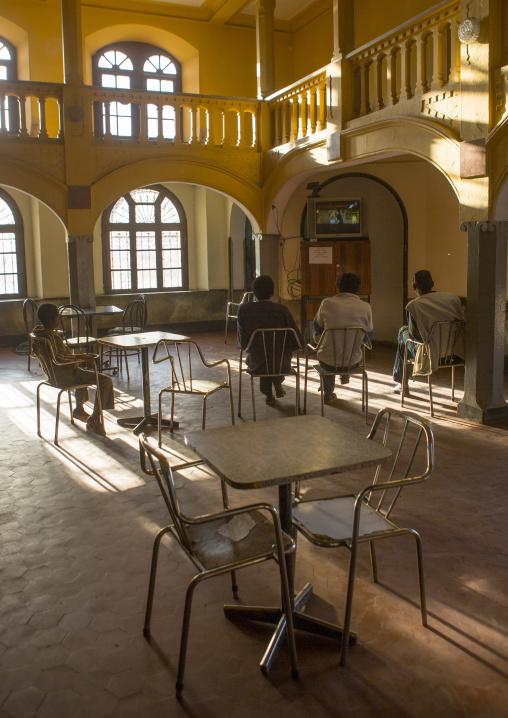 People Watching Television Inside The Opera House Bar, Central region, Asmara, Eritrea