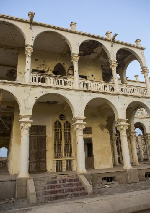Ruins Of The Former Banca D Italia, Northern Red Sea, Massawa, Eritrea