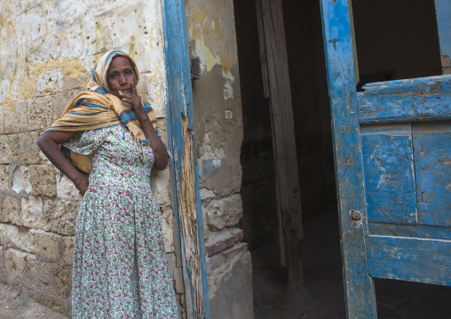 Woman Standing In Front Of Her Entrance House, Northern Red Sea, Massawa, Eritrea