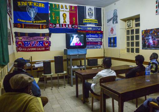 Football Match With Arsenal Team Inside Casa Degli Italiani Television Room, Central region, Asmara, Eritrea