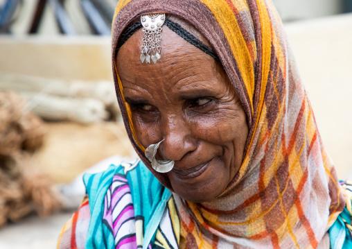 Portrait of an eritrean woman with a nose ring, Semien-Keih-Bahri, Keren, Eritrea