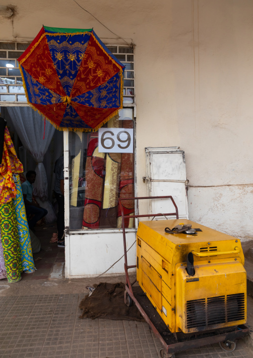 Generator for emergency electric power in front of a shop, Central region, Asmara, Eritrea
