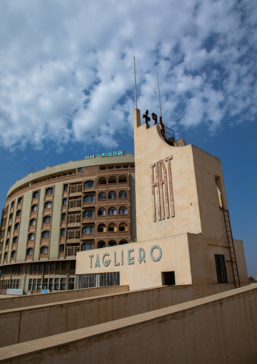 Futurist architecture of the FIAT tagliero service station built in 1938 in front of nakfa house, Central region, Asmara, Eritrea