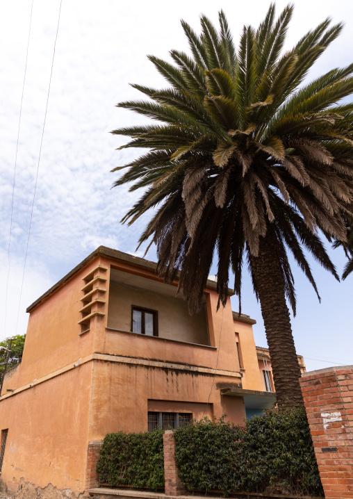 Exterior of old art deco style villa from the italian colonial times, Central region, Asmara, Eritrea