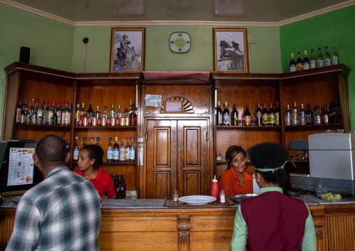 Interior of bar Zilli located on shaida square, Central region, Asmara, Eritrea