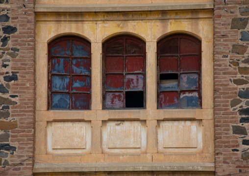 Windows of old opera house from the italian colonial times, Central region, Asmara, Eritrea