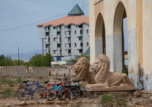 Lions statues in front of eritrean shipping lines building, Northern Red Sea, Massawa, Eritrea