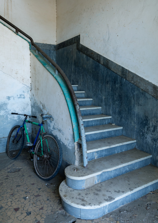 Stairs in a building from the italian colonial era, Northern Red Sea, Massawa, Eritrea