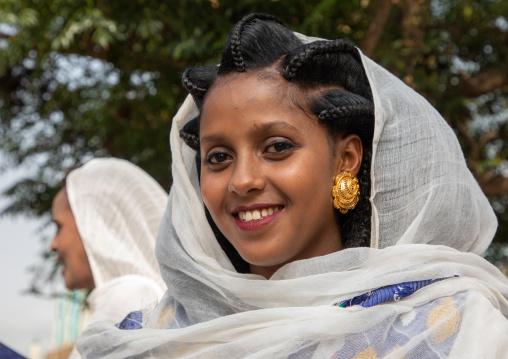 Eritrean woman with traditionbal hairstyle, Central region, Asmara, Eritrea