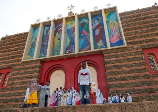 Eritrean people at enda mariam orthodox cathedral, Central region, Asmara, Eritrea