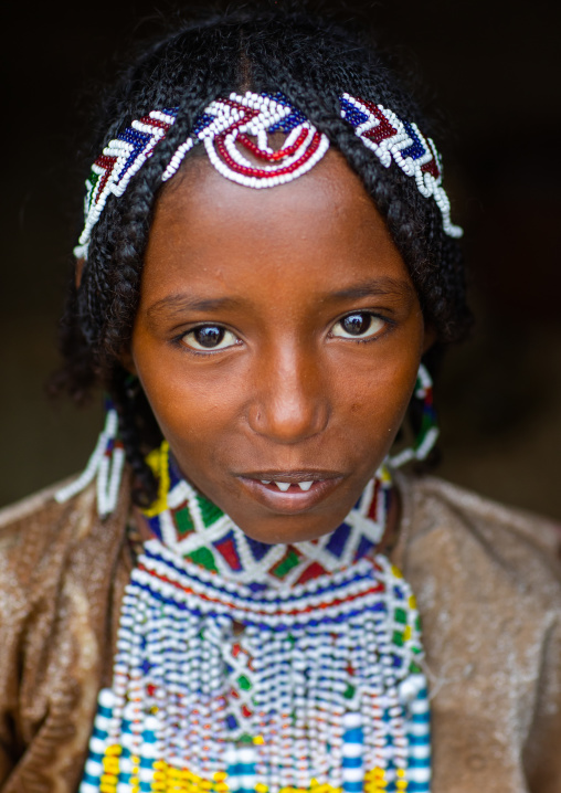 Portrait of an Afar tribe girl with beaded headwear, Central region, Asmara, Eritrea