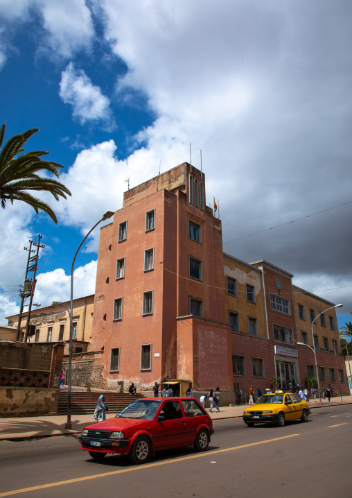 Exterior of old art deco style building from the italian colonial times, Central region, Asmara, Eritrea
